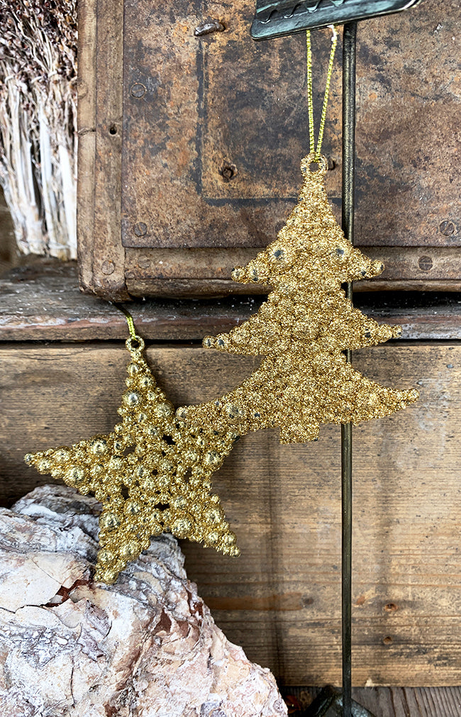 Glitter bubble tree gold 10cm