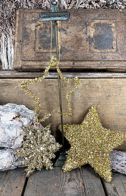 Tinsel open star gold 12cm