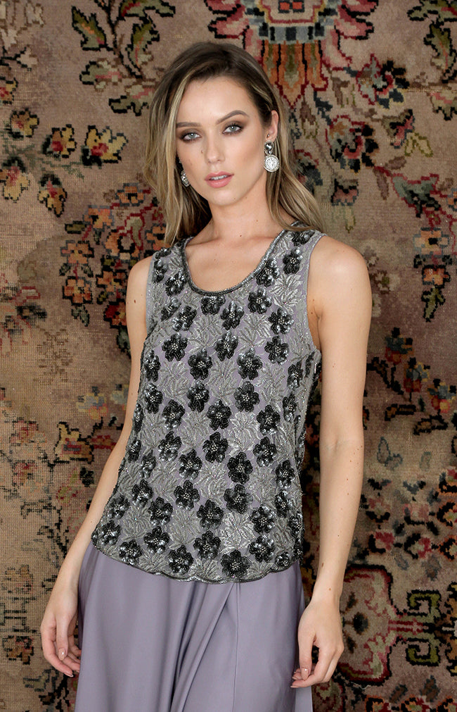 Mira Beaded Top - Grey