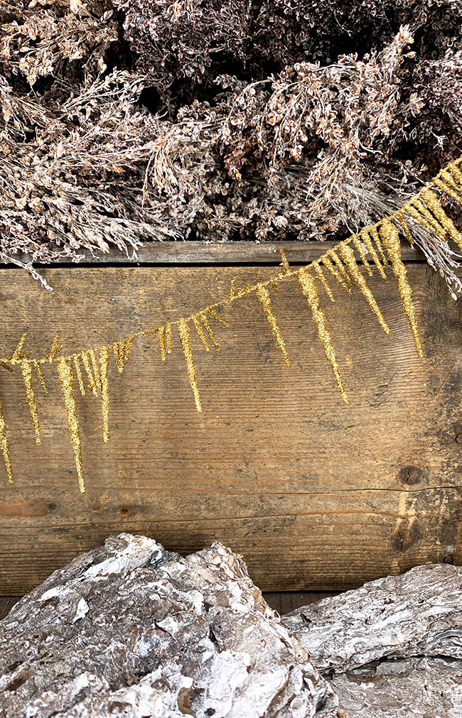 Icicle garland gold glitter 180cm