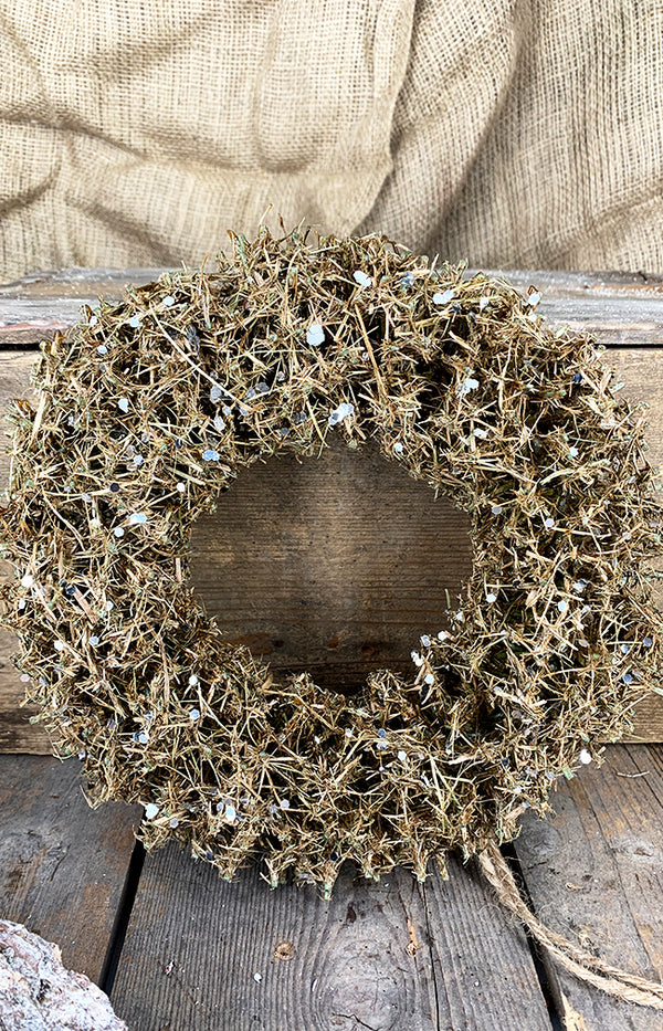 Twig wreath with silver sequin d25cm