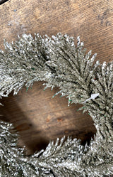 Glitter fir wreath silver 18cm