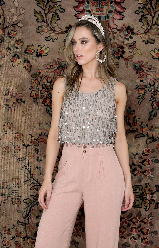 Alice Beaded Top - Dusty Pink
