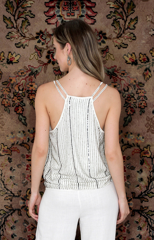 Mabel Beaded Top - Ivory