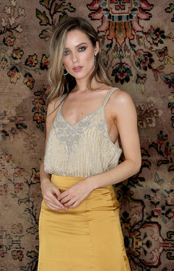 Parker Beaded Top - Cream