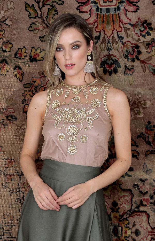 Salma Beaded Top - Gold