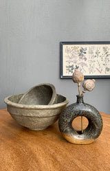 Handmade Paper Mache Bowl - Antique