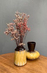 Brown & Yellow Stoneware Vase - 15x21cm