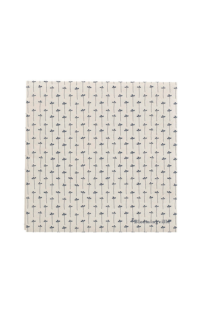 Printed Paper Napkin - Cream w/ Blue