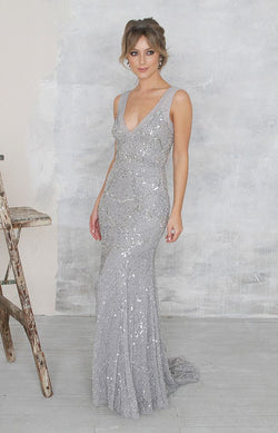 Sully Gown (hand beaded)- Silver