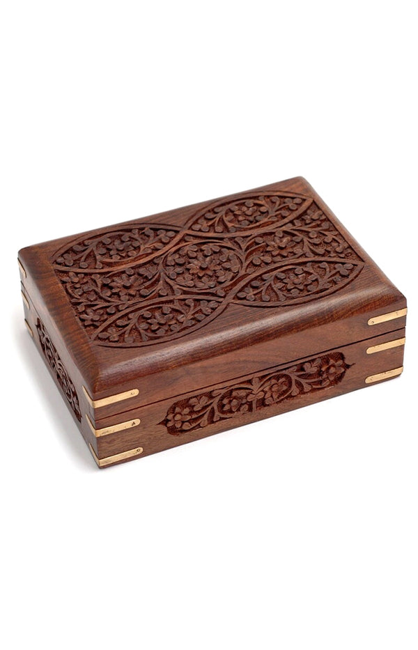 Ornate Wooden Box w/ Brass Corners