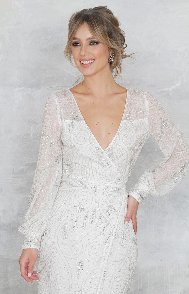 Cara Dress (hand beaded) - Ivory