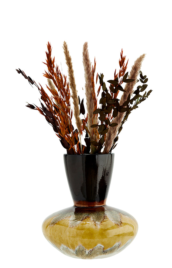 Brown & Yellow Stoneware Vase - 22x23cm