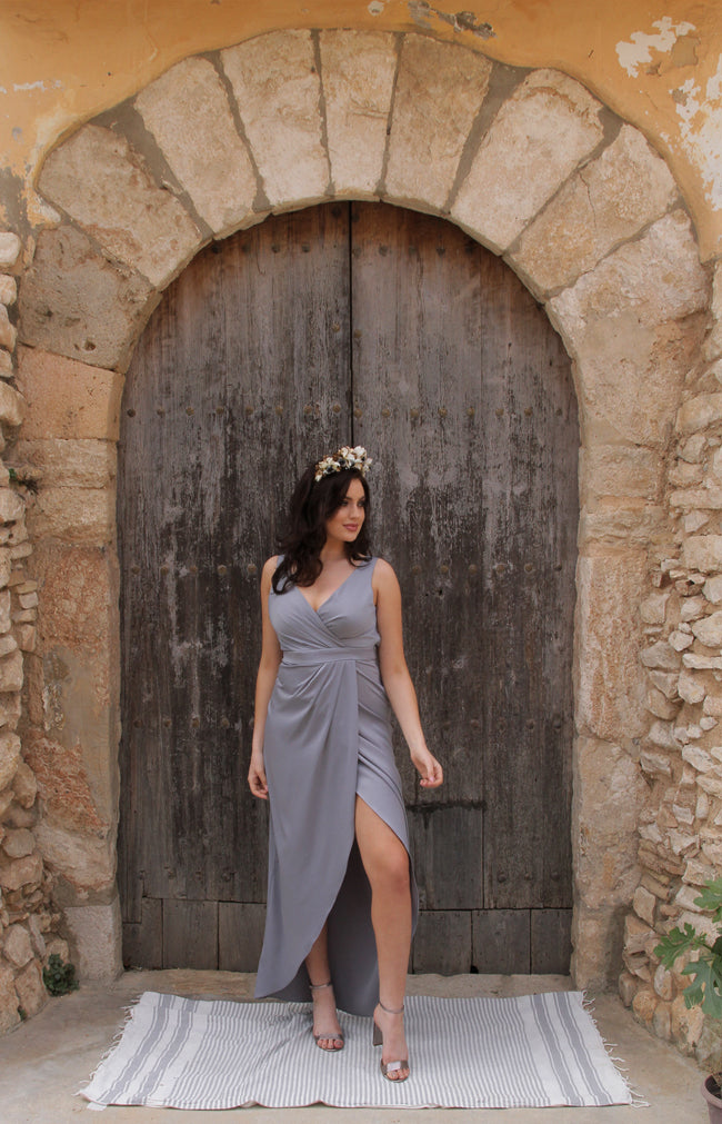 Fabia Low Back Gown - Dusty Blue