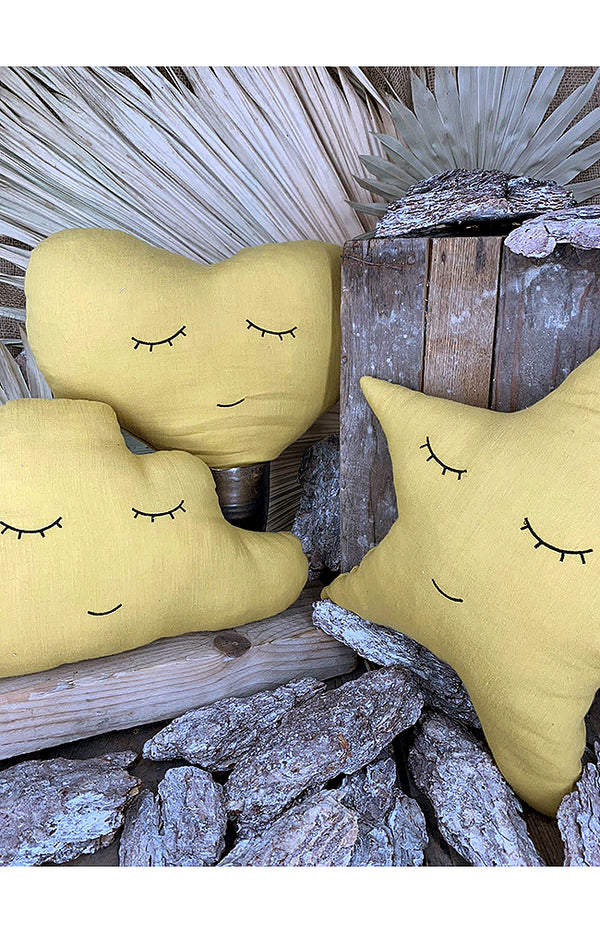 Smiley Cloud Pillow - Mustard