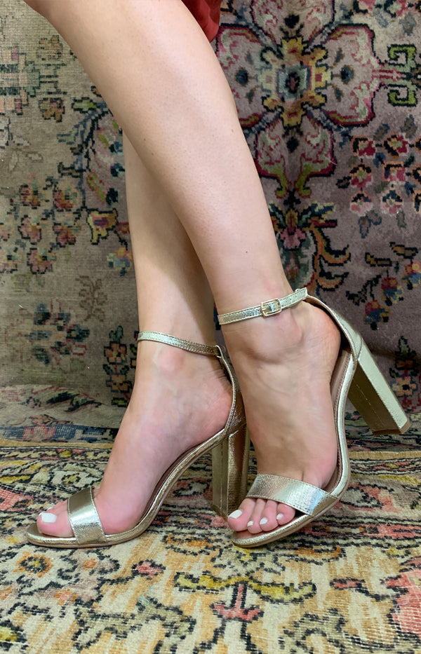 Delilah Heels - Textured Gold