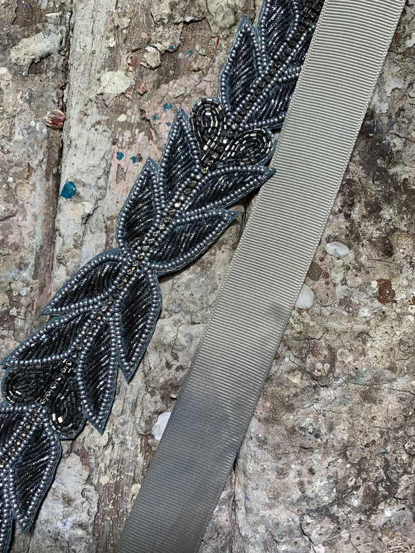 Hadley Beaded Belt - Grey