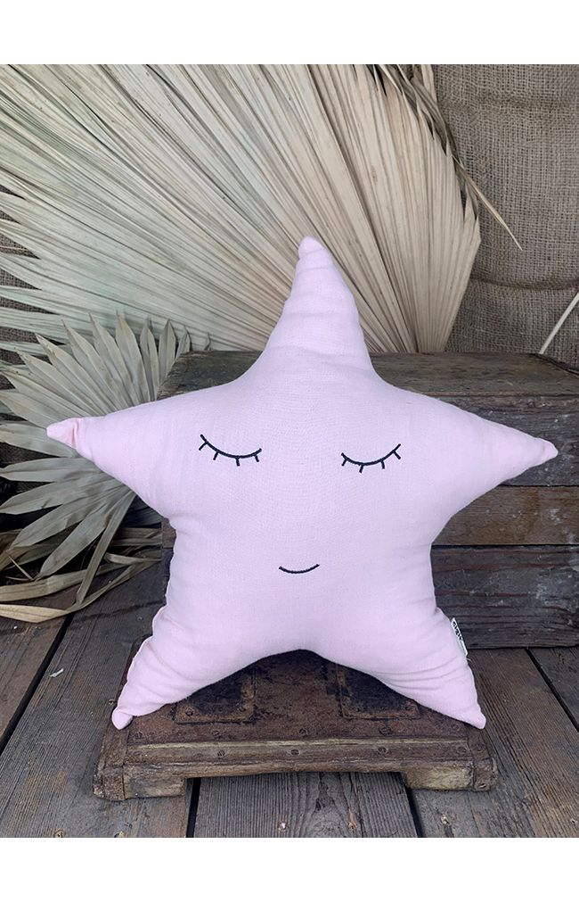 Smiley Star Pillow - Powder Pink