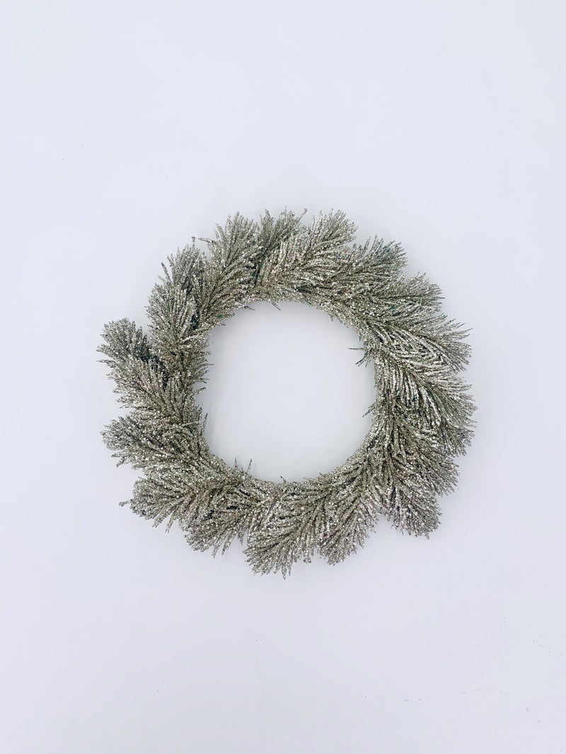 Glitter fir wreath silver 25cm