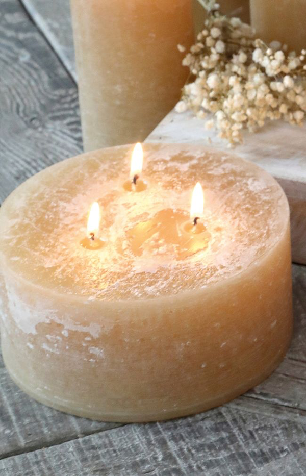 Macon Rustic Pillar Candle - 42H - Honey
