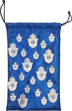 Hand of Fatima Silk Bag - Blue