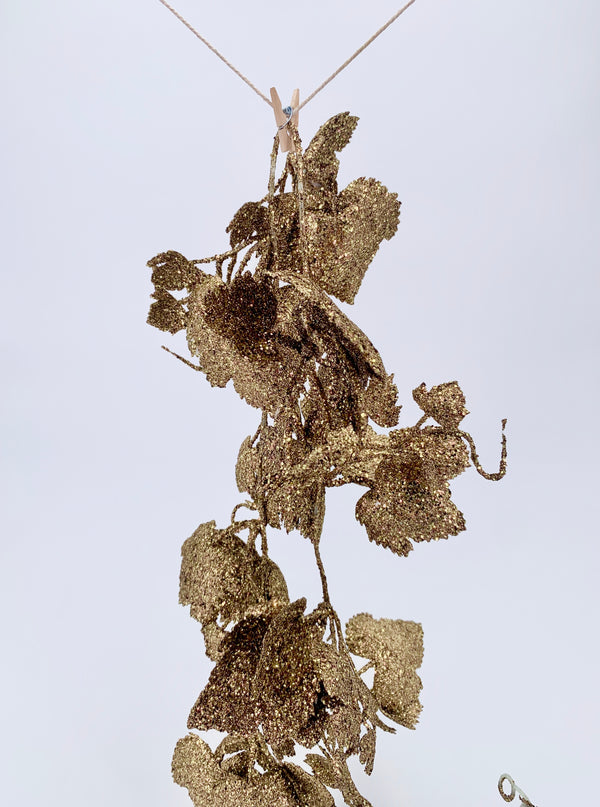 Glitter leaves garland gold 120cm