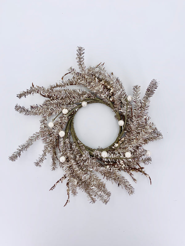 Tinsel wreath w/pearls champagne 25cm