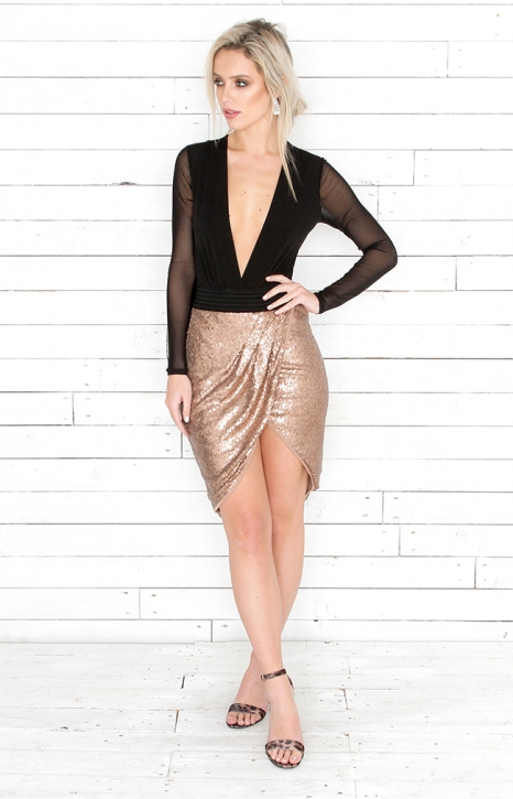 Metallic Drape Skirt - Bronze