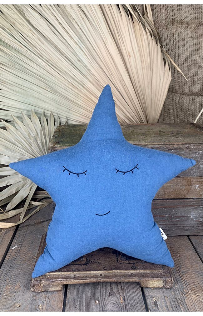 Smiley Star Pillow - Space Blue