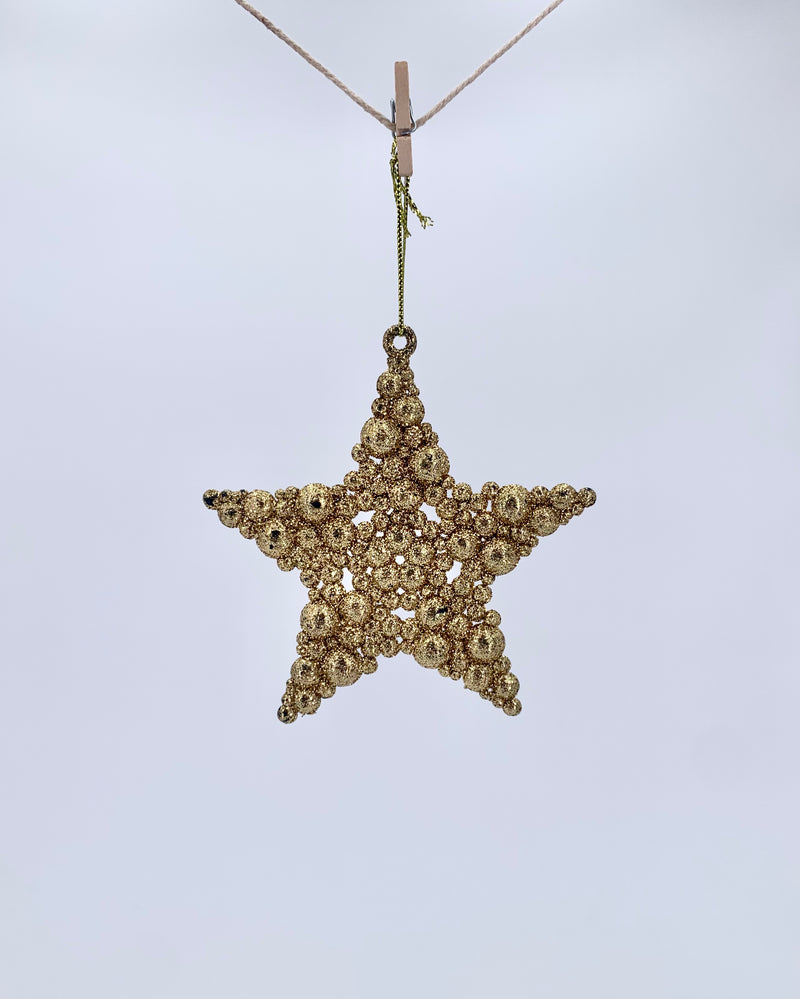 Glitter bubble star gold 10cm