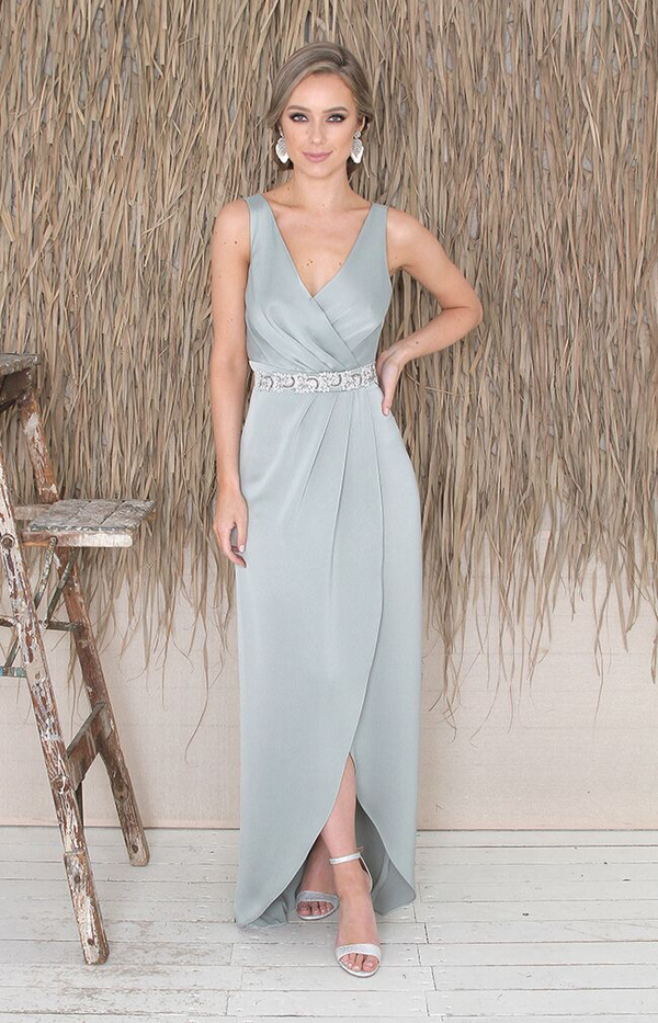 Fabia Low Back Gown - Sage