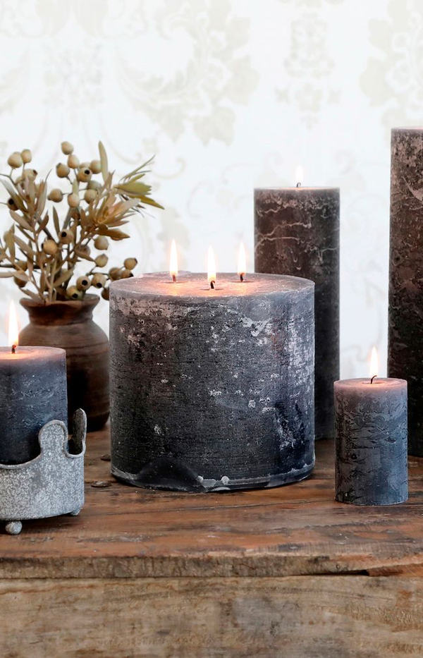 Macon Rustic Pillar Candle - 80H - Coal