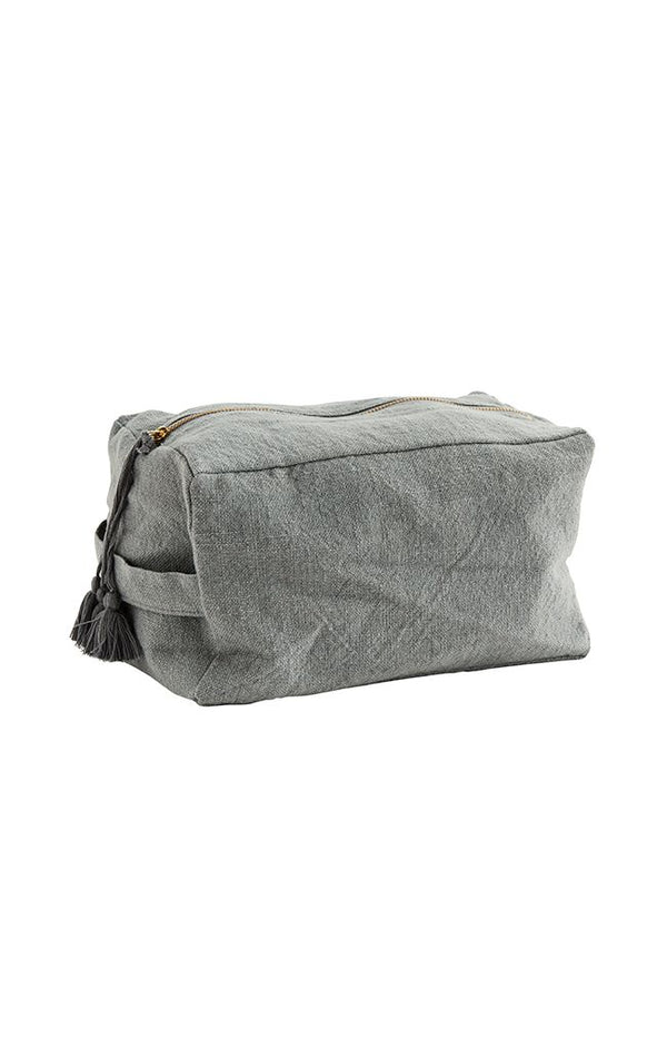 Cotton Toiletry Bag W/ Tassels - Grey