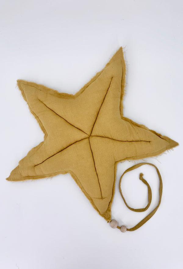 L Cotton Hanging Deco Star - Mustard