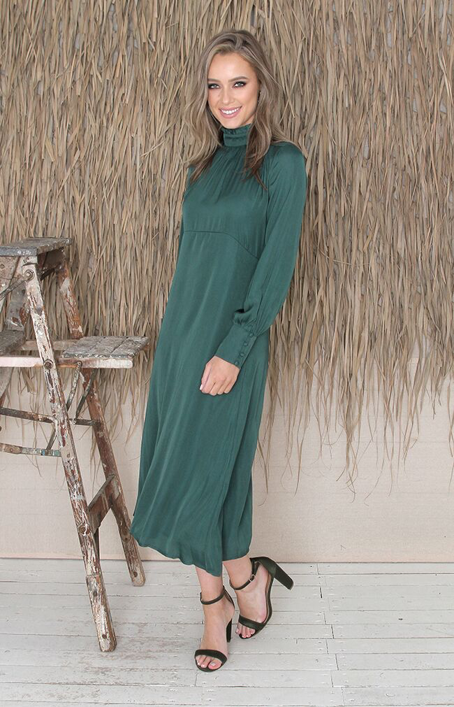 Naomi Midi Dress - Forest Green