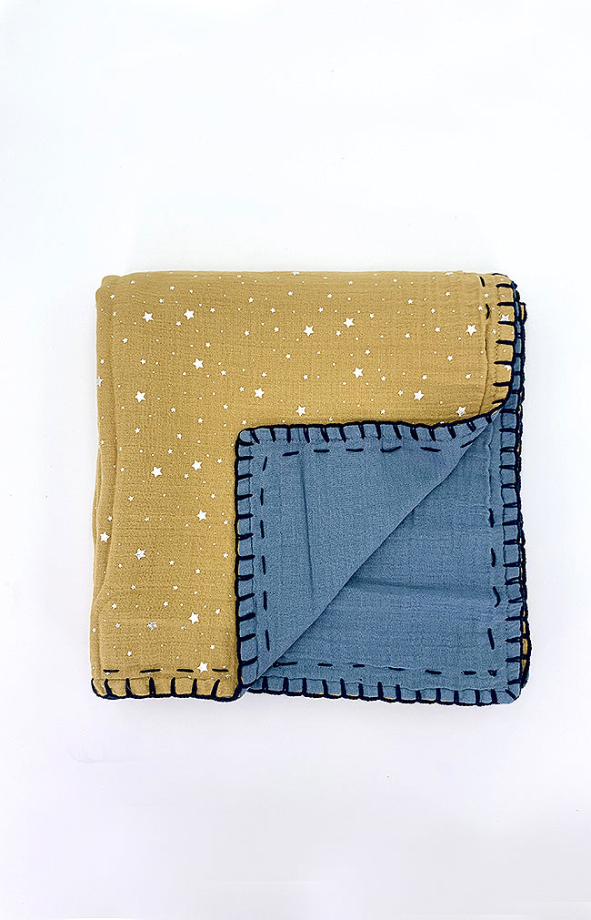 100% cotton Double Sided Blanket - Mustard/Space Blue