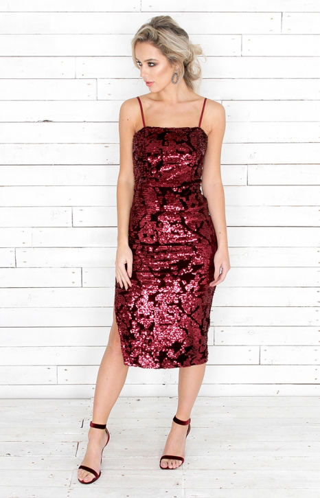 Ren Sequin Dress - Burgundy