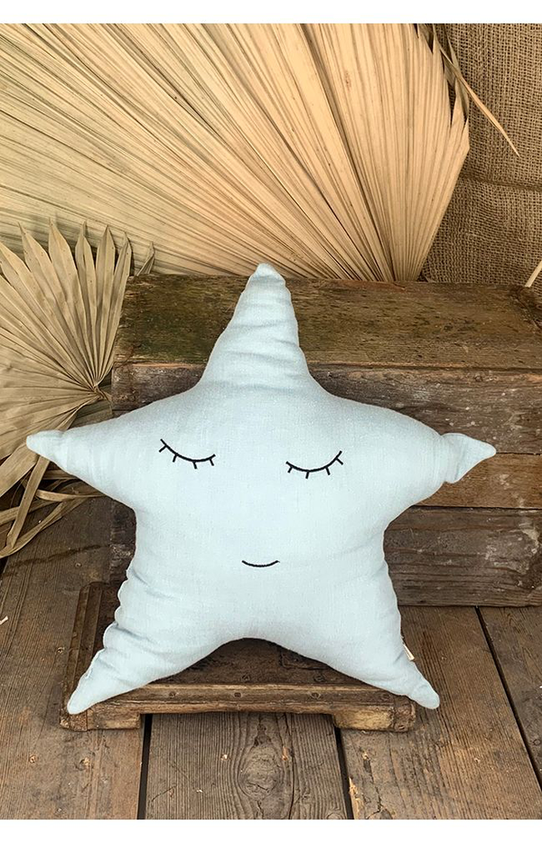 Smiley Star Pillow - Mint Green
