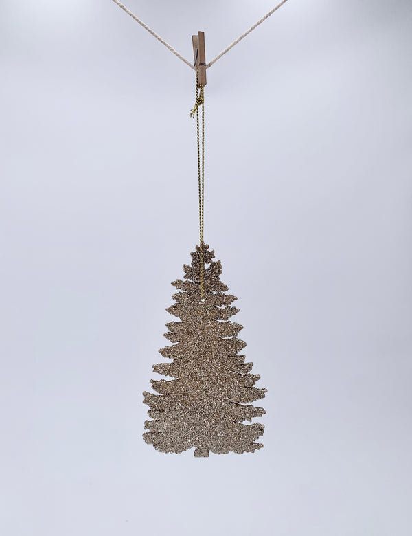 Hanging Glitter Ornament - Silver