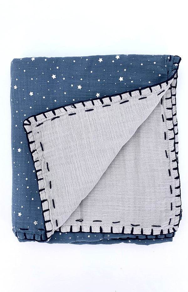 100% cotton Double Sided Blanket - Space Blue/Grey