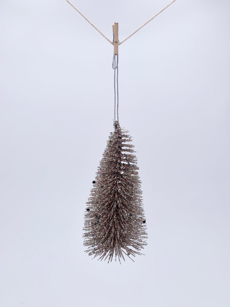 Glitter tree hanging champagne 12cm
