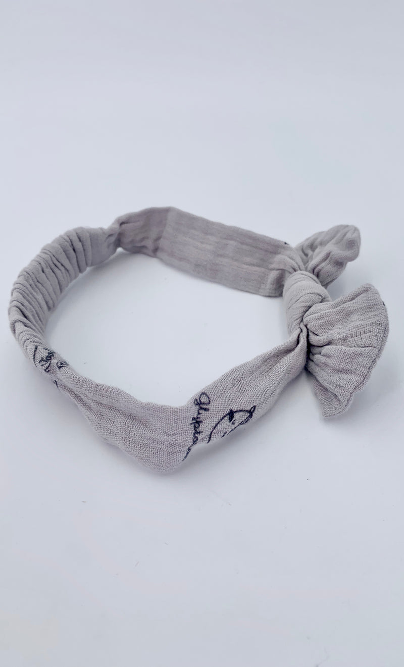 100% Cotton Baby Bow - Grey