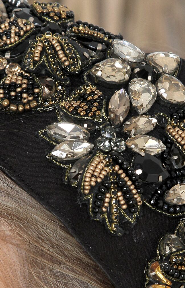 Simone Beaded Headpiece - Black/Gold