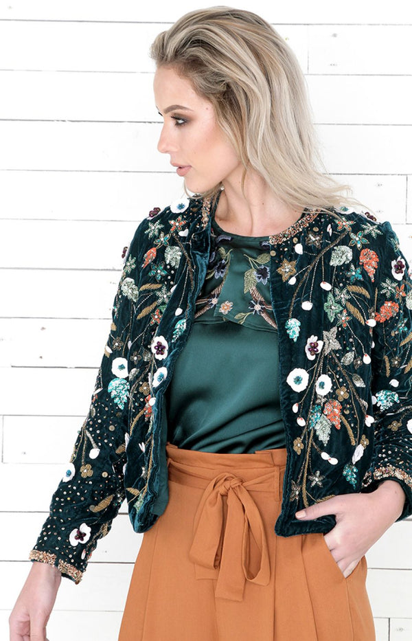 Perry Embellished Jacket - Emerald