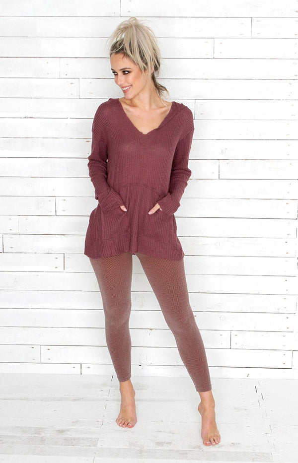 V-Neck Jumper - Wine