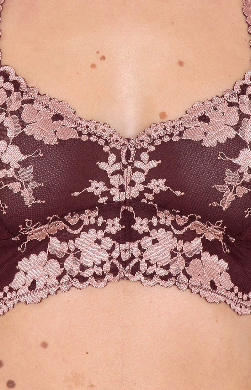 Mix Lace Bralet - Burgundy/Rose