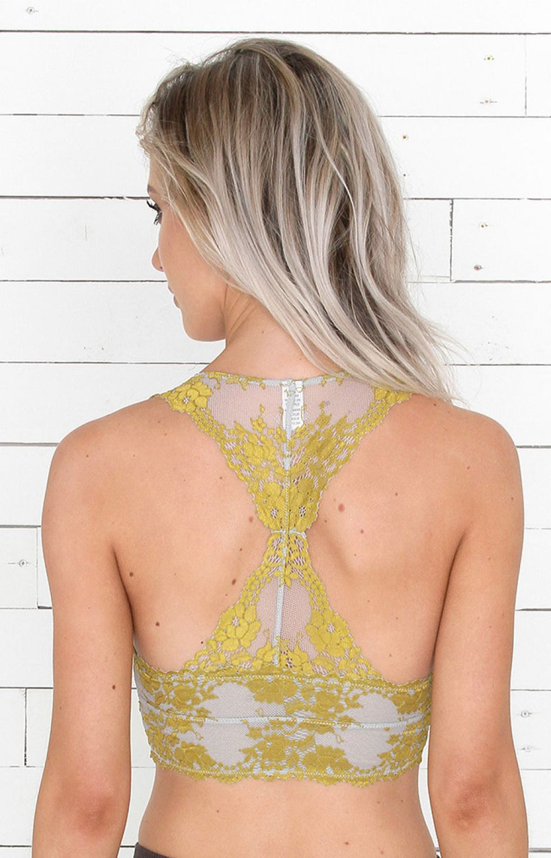 Mix Lace Bralet - Grey/Yellow