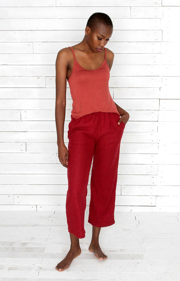 Ribbed Pants - Red