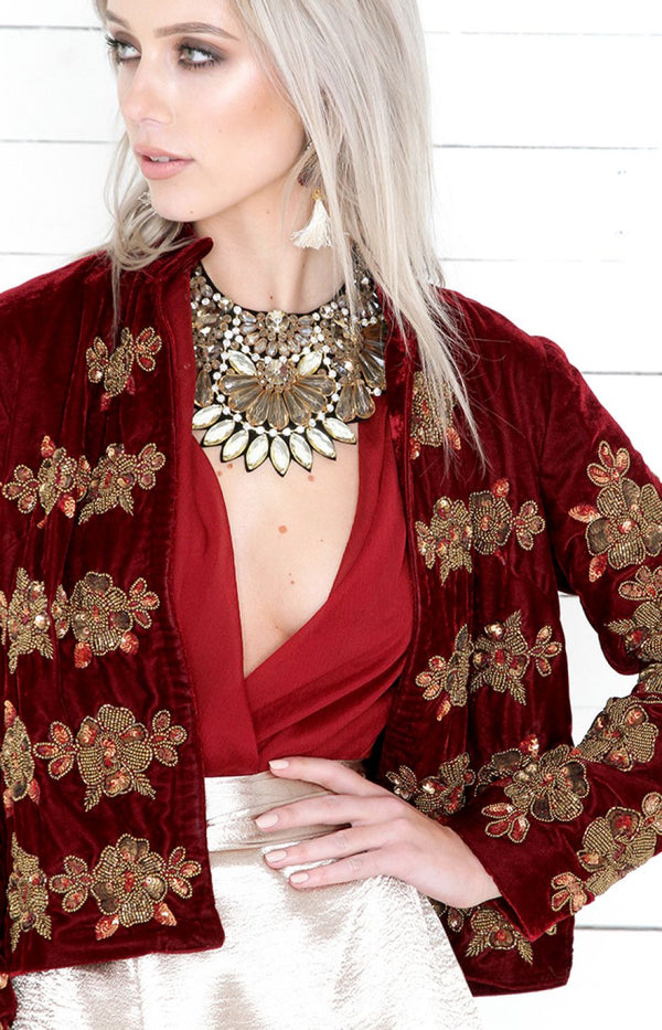 Alba Embellished Jacket - Wine