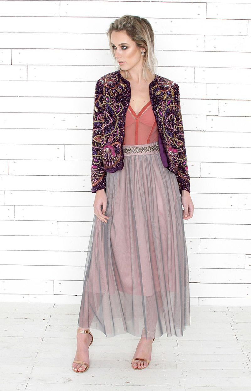 Mena Embellished Jacket - Purple